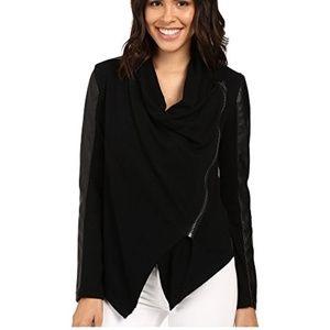 BlankNYC Mixed Media Drape Front Jacket (Black)